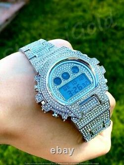 Mens Custom Fully Ice out Sport Digital Watch Iced Cz Quality Stainless Steel