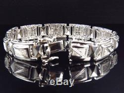 Mens Genuine Diamond Cut Out Style Bracelet In White Gold Finish 12MM (1.0Ct)