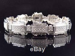 Mens Genuine Diamond Puzzle Style Bracelet In White Gold Finish 14MM (1.25Ct)