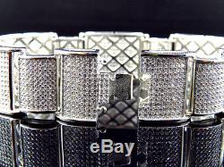 Mens Icy White Gold Over Sterling Silver Simulated Diamond XL Link Bracelet 8.5