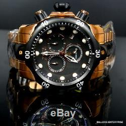 Mens Invicta Reserve Venom Rose Gold Tone Chronograph Swiss Made Black Watch New