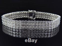 Mens Ladies White Gold Finish Round Cut Real 3 Row 11 MM Diamond Bracelet 9 Inch
