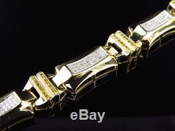 Mens Pave Set 10K Yellow Gold Genuine Canary & White Diamond Bracelet (2.30 Ct)