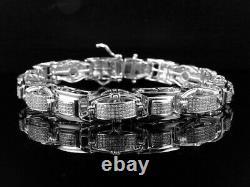 Mens Pave Set Genuine White Diamond Custom Bracelet In White Gold Finish 2.0 Ct