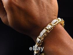 Mens Pave Set Genuine White Diamond Custom Bracelet In Yellow Gold Finish 2.0 Ct