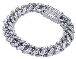Mens Real Diamond Miami Cuban Iced Link Chain Bracelet 10K White Gold 8.25 8CT