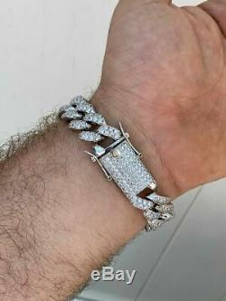 Mens Real Miami Cuban Bracelet White Gold Over Stainless Steel 15mm Iced Silver
