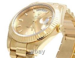Mens Rolex 18K Yellow Gold Day-Date II 41MM President 218238 Fluted Bezel Watch