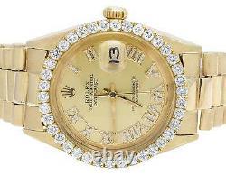 Mens Rolex 18K Yellow Gold Presidential Datejust 36MM Diamond Watch 3.5 Ct