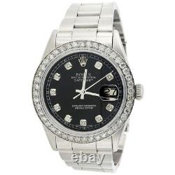 Mens Rolex 36mm DateJust 16014 Diamond Watch Oyster Band Glossy Black Dial 2 CT