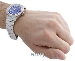 Mens Rolex 36mm DateJust Diamond Watch Fully Iced Band Custom Blue Dial 5.10 CT