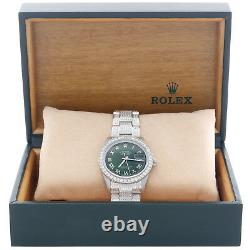 Mens Rolex 36mm DateJust Diamond Watch Fully lced Band Green Roman Dial 5 CT