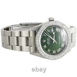 Mens Rolex 36mm DateJust Diamond Watch Oyster Steel Band Green Roman Dial 1.9 CT