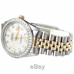 Mens Rolex 36mm Diamond Watch DateJust 18k/Steel Two Tone Jubilee Band 2 CT