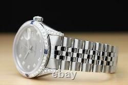 Mens Rolex Datejust 16014 Diamond 18k White Gold & Stainless Steel Genuine Watch