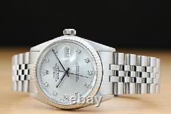 Mens Rolex Datejust 16014 Factory Silver Diamond Dial 18k White Gold Steel Watch