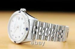 Mens Rolex Datejust 16014 Mother Of Pearl Sapphire 18k White Gold & Ss Watch