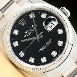 Mens Rolex Datejust 16234 Black Diamond Dial 18k White Gold & Steel Watch