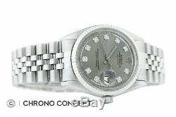 Mens Rolex Datejust 18K White Gold & Stainless Steel Gray Diamond Dial Watch