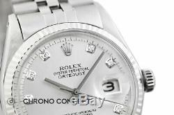Mens Rolex Datejust 18K White Gold & Stainless Steel Silver Diamond Dial Watch