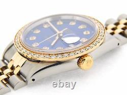 Mens Rolex Datejust 18k Gold and Steel Watch Blue Diamond Dial 1.4ct Bezel 16233