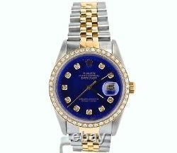 Mens Rolex Datejust 18k Gold and Steel Watch Blue Diamond Dial 1ct Bezel 16233