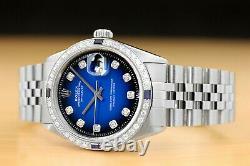 Mens Rolex Datejust 18k White Gold Diamond Sapphire Steel Watch + Rolex Band