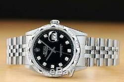 Mens Rolex Datejust 18k White Gold Pyramid Diamond & Steel Black Dial Watch