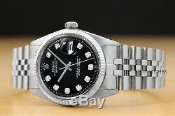 Mens Rolex Datejust 18k White Gold & Stainless Steel Black Diamond Dial Watch