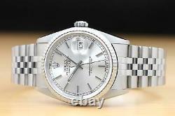 Mens Rolex Datejust 18k White Gold & Stainless Steel Genuine Watch 16234