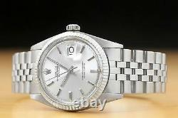 Mens Rolex Datejust 18k White Gold & Steel Silver Dial Watch + Rolex Folded Band