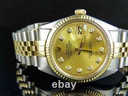 Mens Rolex Datejust 2 Tone 18K Gold/Steel Fluted Bezel 36MM 1601 Diamond Watch