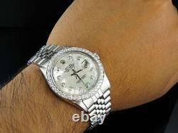 Mens Rolex Datejust 36MM White MOP Dial Jubilee Band Diamond Watch 2.75 Ct