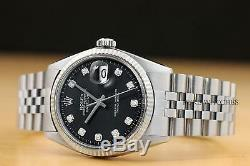 Mens Rolex Datejust Black Diamond Dial 18k White Gold & Stainless Steel Watch