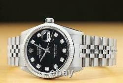 Mens Rolex Datejust Black Diamond Dial 18k White Gold Stainless Steel Watch