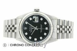 Mens Rolex Datejust Black Diamond Dial Watch + Rolex 18K White Gold Bezel