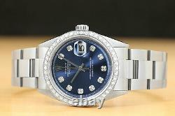 Mens Rolex Datejust Blue Dial 18k White Gold Stainless Steel Diamond Watch