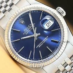 Mens Rolex Datejust Blue Dial 18k White Gold & Stainless Steel Quickset Watch
