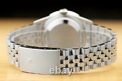 Mens Rolex Datejust Blue Dial 1.60 Ct Diamond Bezel 18k White Gold & Steel Watch