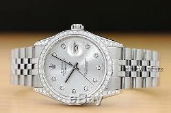 Mens Rolex Datejust Diamond Bezel, Dial, & Lugs 18k White Gold/steel Watch