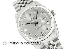 Mens Rolex Datejust Diamond Watch 18K White Gold & Stainless Steel Silver Dial