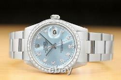 Mens Rolex Datejust Ice Blue Dial 18k White Gold Diamond Bezel & Steel Watch