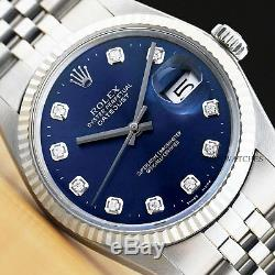 Mens Rolex Datejust Oyster Perpetual 18k White Gold Diamond Quickset Watch 16014