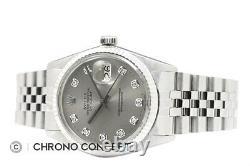 Mens Rolex Datejust Quickset 18K White Gold & Steel Gray Diamond Dial Watch