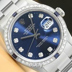 Mens Rolex Datejust Quickset 18k White Gold Sapphire Diamond & Steel Watch