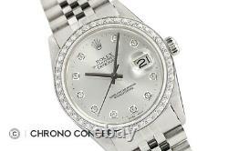 Mens Rolex Datejust Quickset Silver Diamond Dial 18K White Gold & Steel Watch
