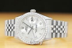 Mens Rolex Datejust Silver Dial 18k White Gold Diamond Bezel & Steel Watch