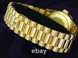 Mens Rolex Datejust Solid 18K Yellow Gold Watch President Style Band Roman Dial