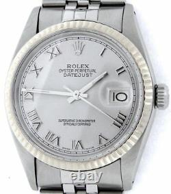 Mens Rolex Datejust Stainless Steel 18K White Gold Watch Silver Roman Dial 16014