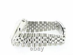 Mens Rolex Datejust Stainless Steel Watch 18K White Gold Bezel Black Dial 16014